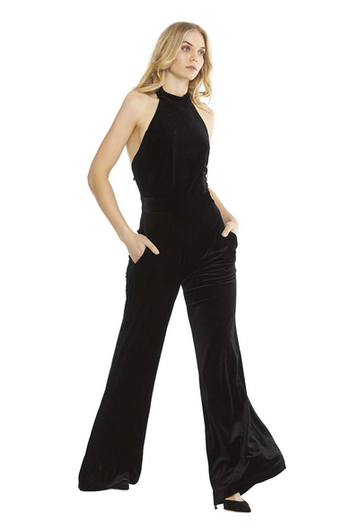 MISA - Xandra Velvet Jumpsuit in Black