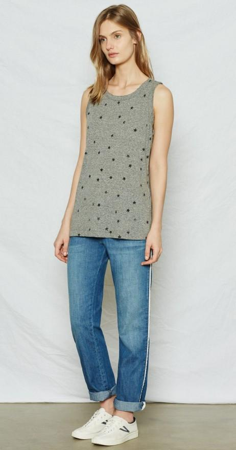 Current/Elliott The Muscle Tee Heather Grey w/ mini navy Stars at Blond Genius - 1