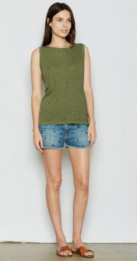 Current/Elliott The Muscle Tee Army Green Falling at Blond Genius - 1