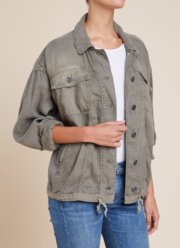 Splendid - Dolman Style Denim Jacket in Military Olive