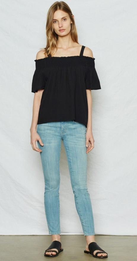 Current/Elliott The Madeline Top Washed Black at Blond Genius - 1