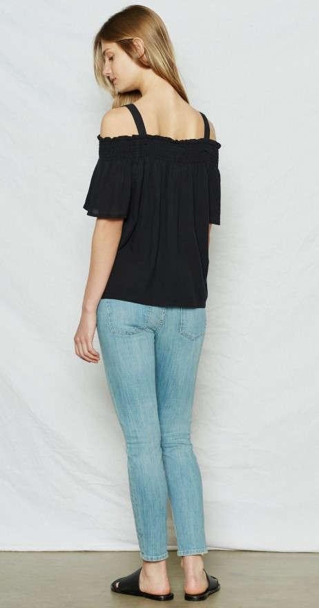Current/Elliott The Madeline Top Washed Black at Blond Genius - 2