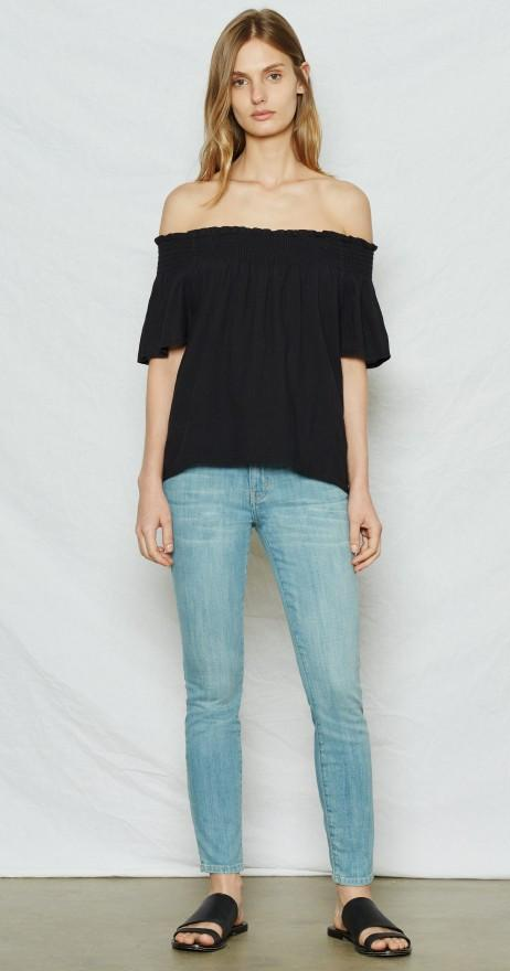 Current/Elliott The Madeline Top Washed Black at Blond Genius - 3