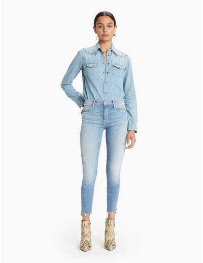 Mother Denim - Stunner Zip Ankle Step Fray Skinny Jeans in Camp Expert