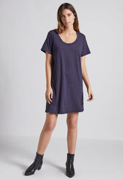 Current Elliott - The Slouchy Scoop Neck Dress Navy Sonic Stripe