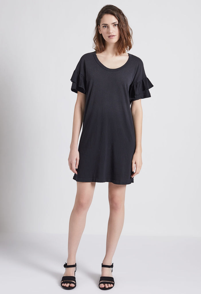 Current Elliott - Ruffle Roadie Dress Washed Black