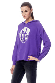 360 Cashmere - Collegiate Skull Hoodie in Purple/Chalk