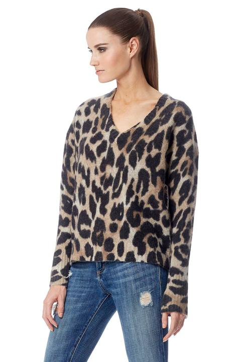 360 Sweater- Geraldine White Smoke/Leopard
