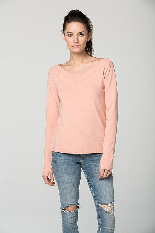 Sundays - Te Rupee Almost Off the Shoulder V-Neck w/ Raw Edge Tomboy Pink