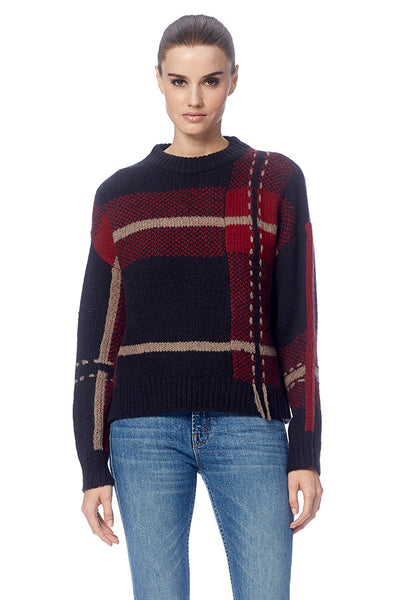 360 Cashmere - Women's Sivan Sweater Portobello/Black/Oxblood