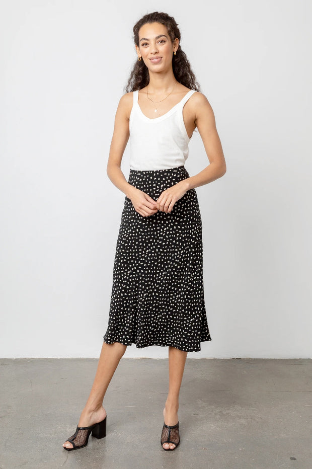 Rails - London Midi Skirt in Black Ivory Spots