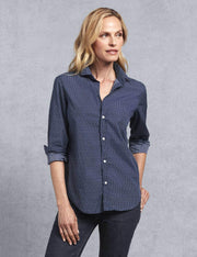 Frank & Eileen - Women Button Down Shirt in Navy w/ Classic All Over