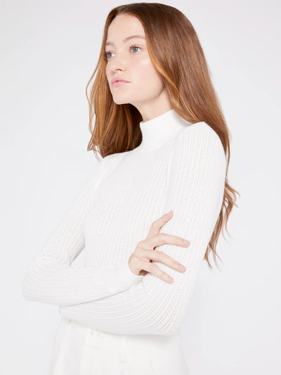 Alice + Olivia - Lanie High Neck Long Sleeve Pullover White