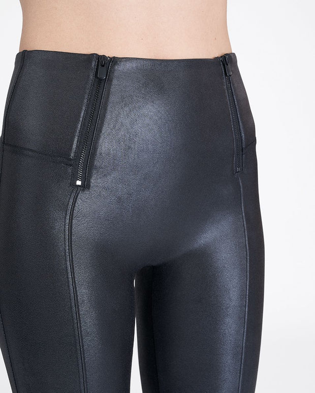 Spanx - Faux Leather Hip Zip Leggings in Very Black