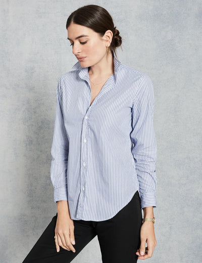 Frank & Eileen - Women Button Down Shirt in Blue/Navy Men's Stripe