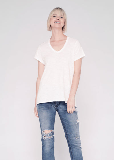 WILT - Short Sleeve Shrunken BF Tee in White