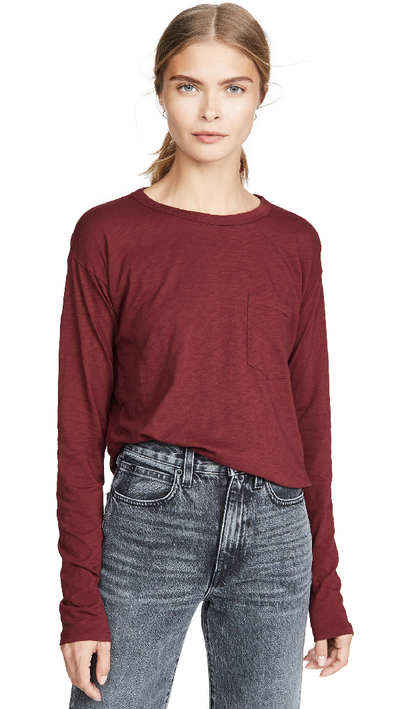 Rag & Bone - The Cropped Longsleeve Tee in Black Cherry