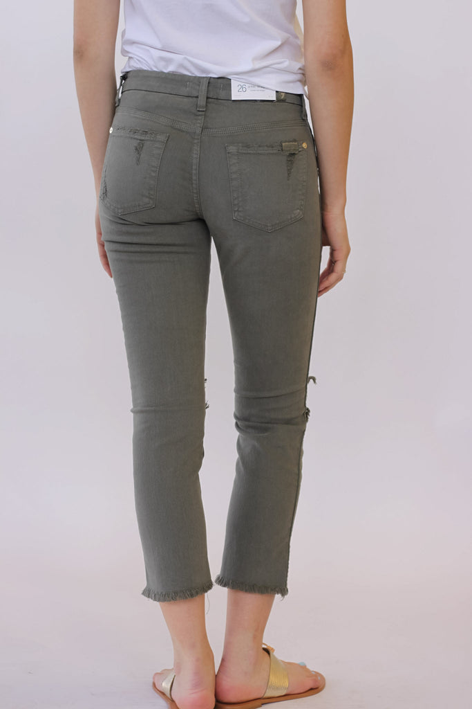 Seven for all Mankind Cropped HW Vintage Straight Leg In Moss at Blond Genius - 3