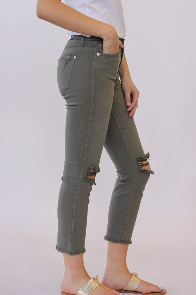 Seven for all Mankind Cropped HW Vintage Straight Leg In Moss at Blond Genius - 2