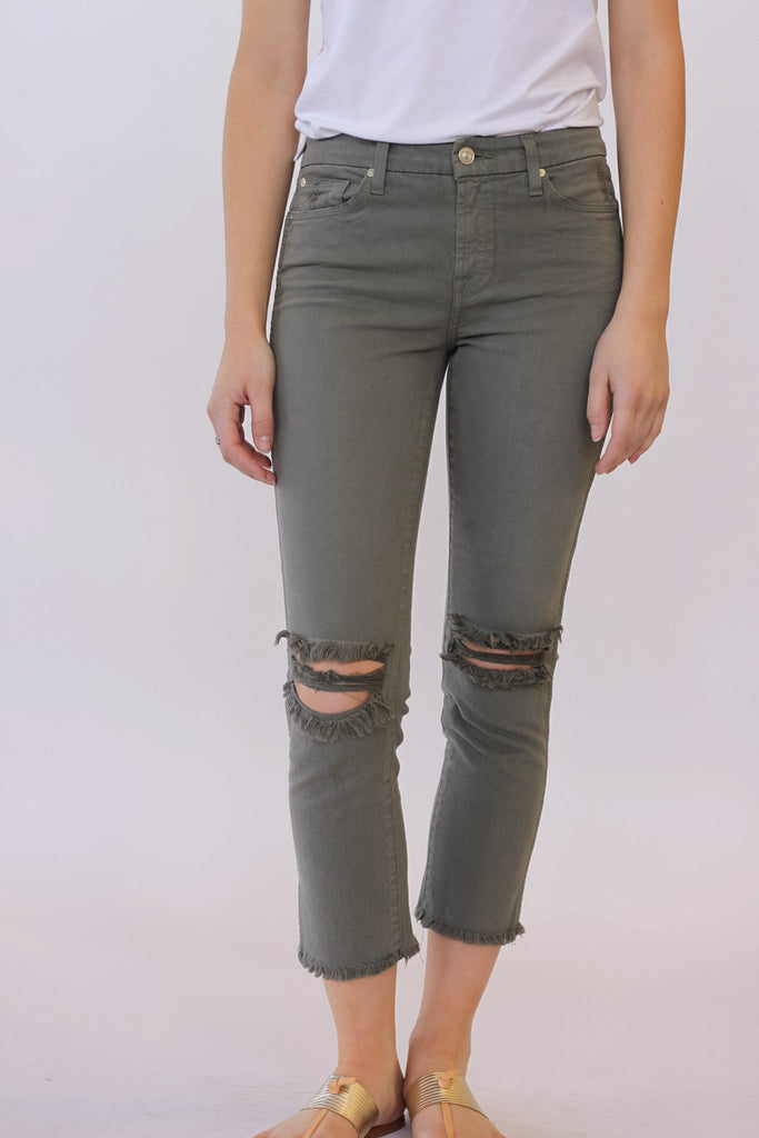 Seven for all Mankind Cropped HW Vintage Straight Leg In Moss at Blond Genius - 1