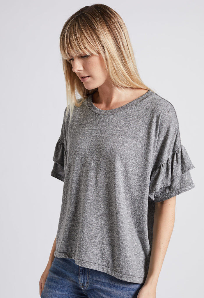 Current/Elliott - Ruffle Roadie Tee Heather Grey