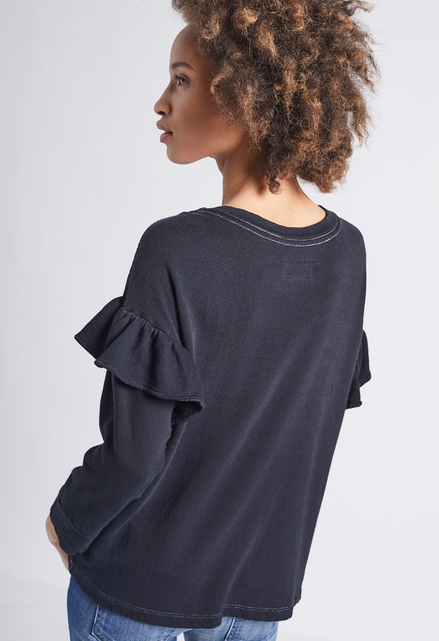 Current Elliott - Ruffle Sweatshirt Washed Black