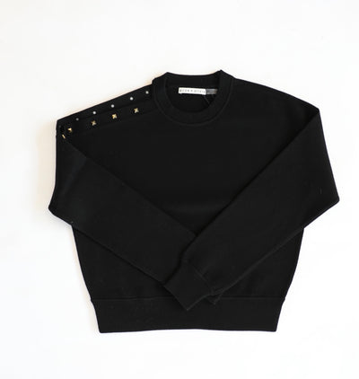 Alice + Olivia - Michael Crewneck Pullover with Cut Shoulder Black/Gold