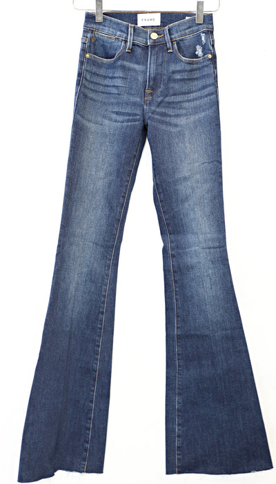 FRAME Denim- Le High Flare Raw Edge Jeans in Fenn