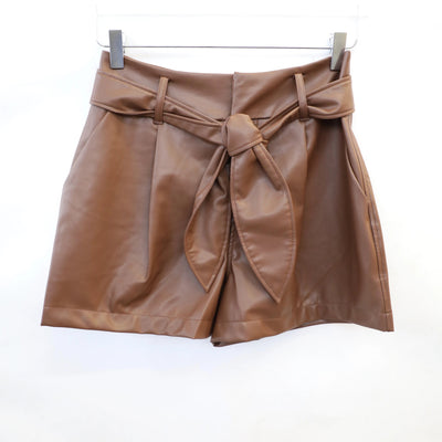 David Lerner - Lexi High-Waisted Pleated Short w/ Belt in Cognac