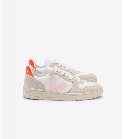 Veja - V10 BMesh Sneakers in White Petale Orange-Fluoro