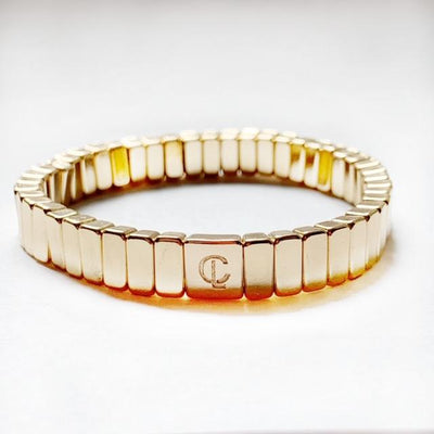 Caryn Lawn - Mini Bar Tile Bracelet in Gold