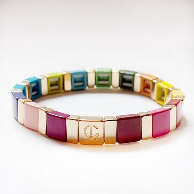 Caryn Lawn - Square Tile Bracelet in Rainbow/Gold