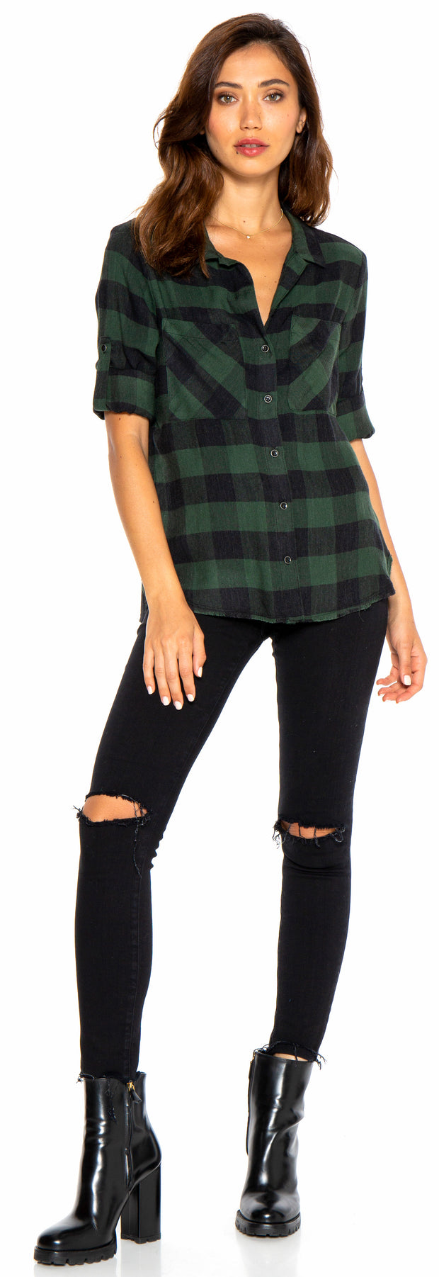 BELLA DAHL - Two Pocket Fray Hem Shirt Pine