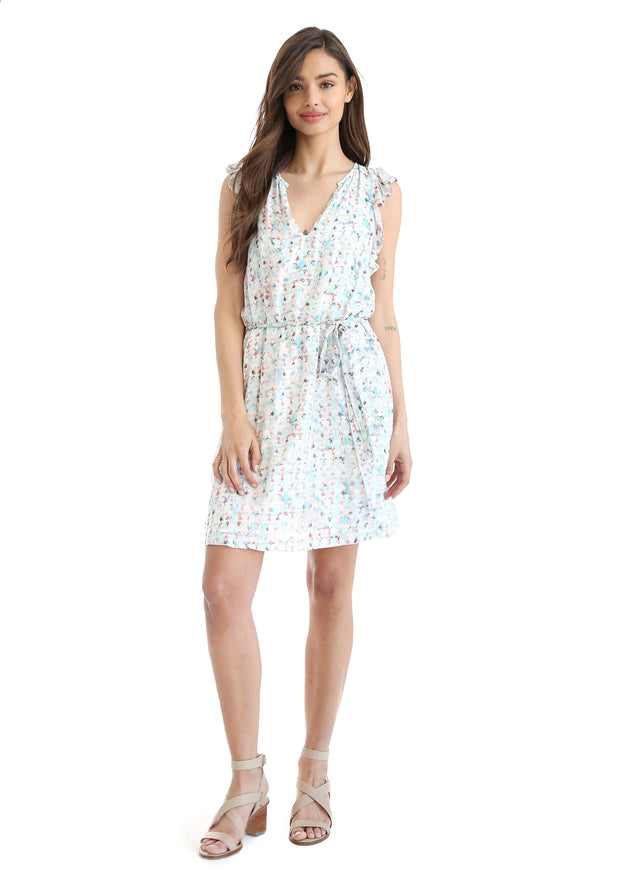 Bella Dahl - Ruffle Sleeve Belted Dress Watercolor Circles