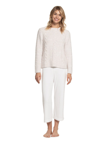 Barefoot Dreams - Cozychic Heathered Cable Pullover in HE-Stone/White