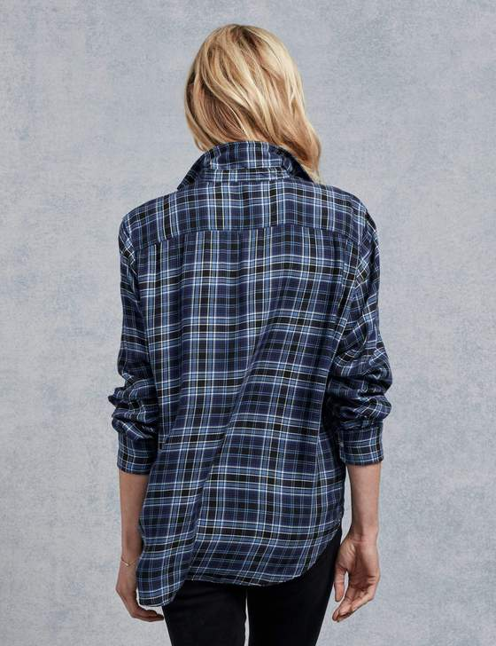 Frank & Eileen - Women's Long Sleeve Button Down in Black/Blue Plaid