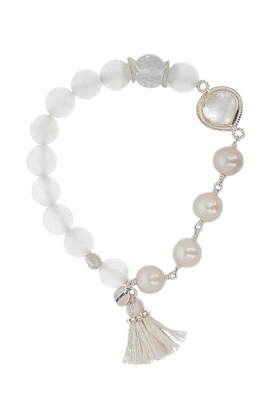 Chan Luu - White Pearl Mix Tassel Stretch Bracelet