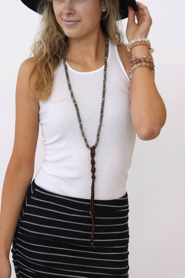 Cheryl Dufault Precious w/ Leather Tassel Necklace at Blond Genius