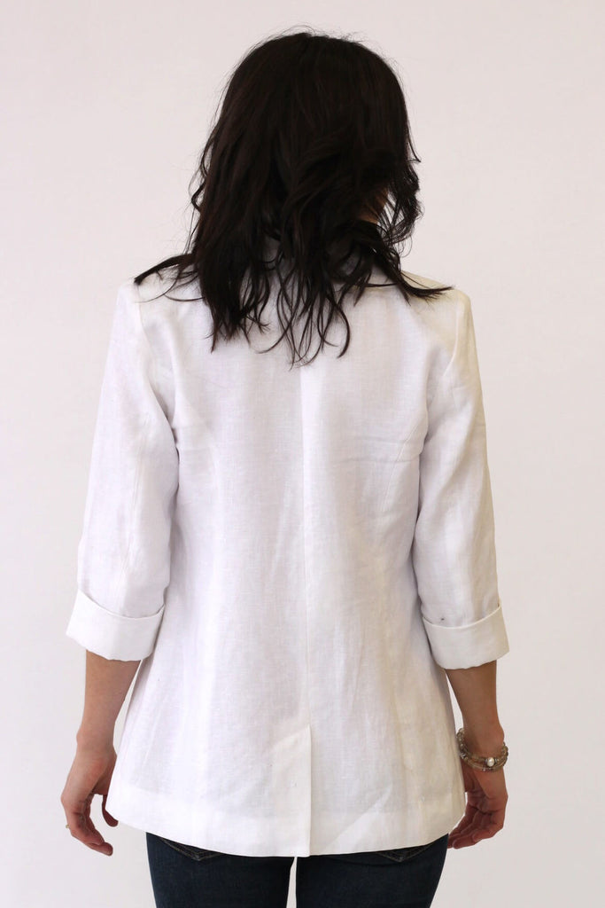 Central Park West Linen Jacket White at Blond Genius - 3