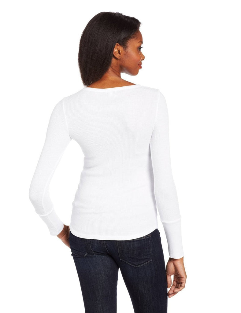 Splendid Splendid Women's Thermal Long Sleleve Henley Tee in White at Blond Genius - 2