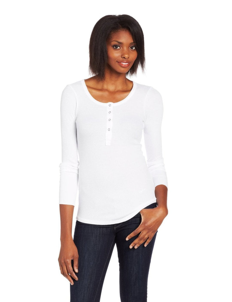 Splendid Splendid Women's Thermal Long Sleleve Henley Tee in White at Blond Genius - 1