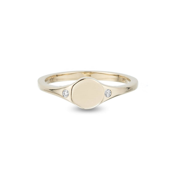 Adina - Small Disc Signet Ring Y14 size 4