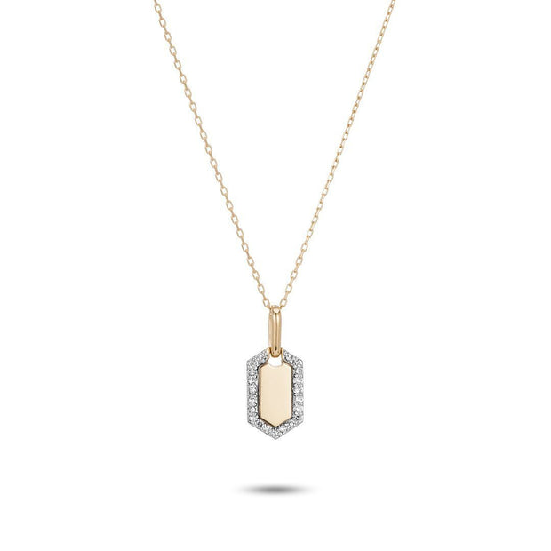 Adina - Tiny Pave Hexagon Dog Tag Necklace Y14