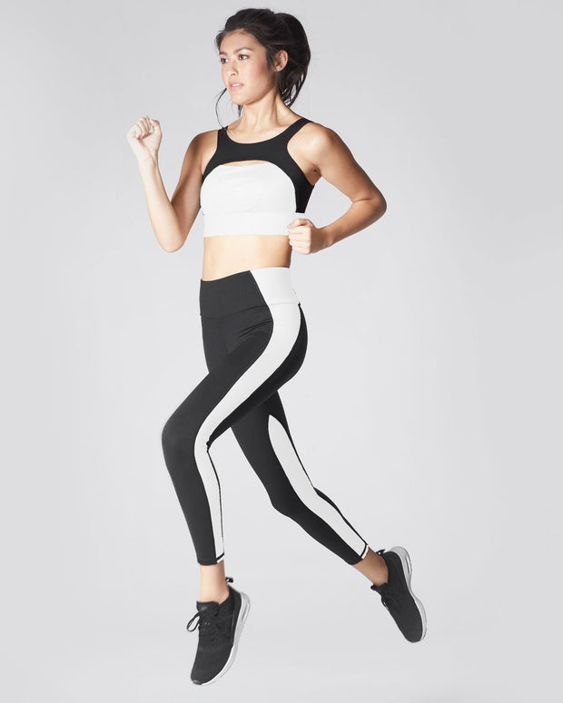 MICHI - Vibe High Waisted Legging in Black with White