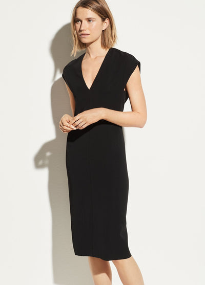 Vince - V-Neck Pencil Dress in Black