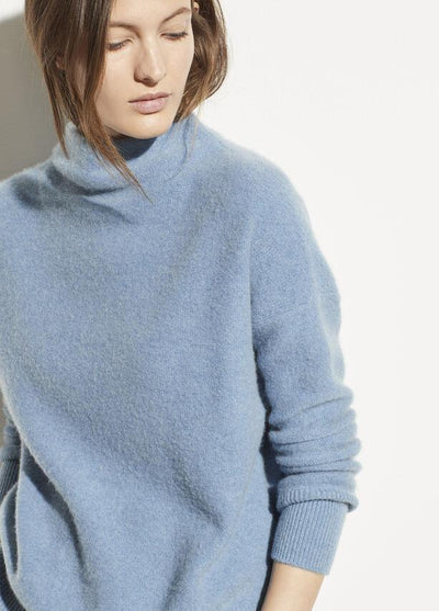 Vince - Funnel Neck Pullover in Heather Azurite