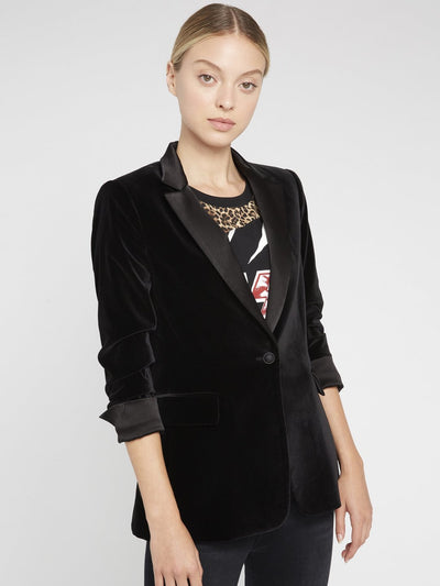 Alice + Olivia - Macey Pleated Sleeve Fitted Blazer Black