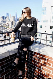 "Blond Genius - Signature Selfie Sweater ""Genius"" in Black"