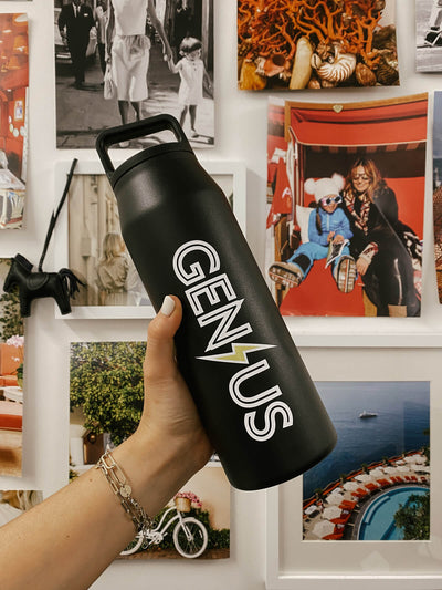 Blond Genius - Lightning Bolt Water Bottle in Black