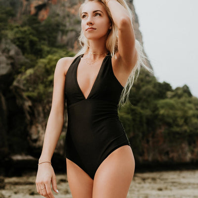 Albion - Shell Shock Black V-Neck Swimsuit